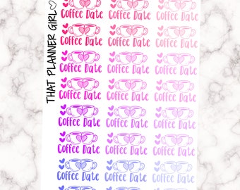 Coffee Date Stickers - Perfect for the Erin Condren, Happy Planner, Mambi or Kikki k planners - Decorate your planner