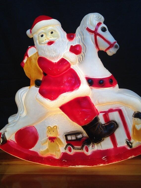 Extra Large Santa Rocking Horse Light Up Christmas Yard Lawn