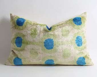 Velvet Ikat Pillow Cover 15x23 Ikat Bedding Green Blue Velvet Pillow Decorative Throw Pillows Ikat Cushion Green Velvet Pillow Throw Cushion