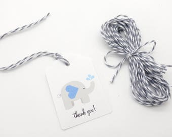 """12 Elephant Gift Tags w/ Twine, (2"""" x 1.5"""" Tags) Personalized Elephant theme party favor tags, Blue Baby Shower Favor tags"""