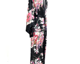 Silk kimono, kimono robe, silk robe, black silk kimono, silk kimono robe, silk kimonos, bridesmaid silk robe, gift for her, long kimono