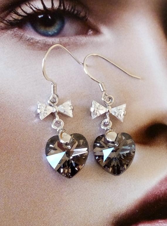 Swarovski heart earrings, heart earrings, crystal earrings, sterling silver heart earrings, gift, heart bow zircon earrings, Swarovski heart