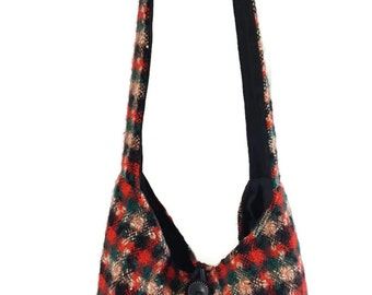 plaid purse, crossbody bag, plaid hobo bag, plaid boho bag, tartan purse, slouch bag, cross body purse, tartan plaid purse, bohemian bag