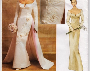 2000s Vogue 2720 Bridal Gown With Shaped Sleeves, Optional Flowers, And Detachable Train - Size 12 14 16 Bust 34 36 38 - Sewing Pattern