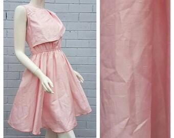 Vintage 1970s 'Miss Onward' Label Raw Silk Pink Grecian Frill Bodice Full Circle Pleat Prom Mini Dress Small Medium