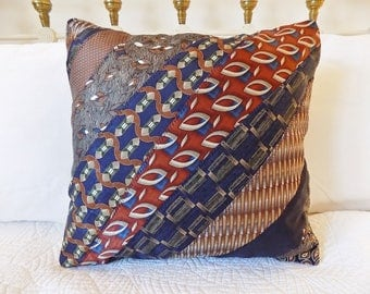 Tie Pillow *ON SALE* Decorative Necktie Throw Pillow Upcycled Silk Ties Pillow Blue Rust Green and Tan Pillow