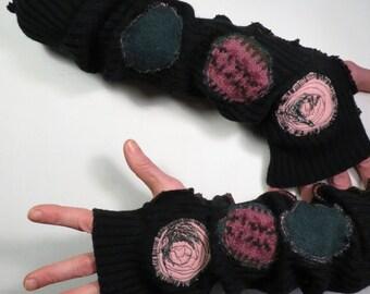 Black fingerless gloves, upcycled, warmes, black woolen gloves, black wrist warmer, warmes, recycled wool, embroidered, black green rose, boho