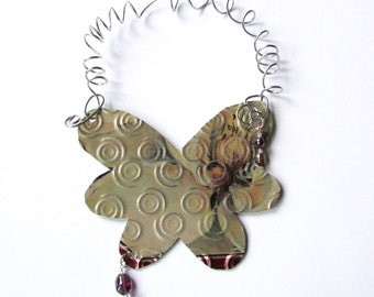 Butterfly Ornament - Metal Butterfly Decoration - Butterfly Wall Decor - Recycled Ornament - Eco Friendly Ornament
