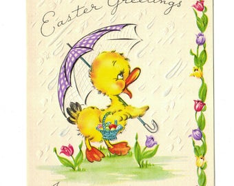 Vintage UNUSED EASTER Duckling w/Umbrella Basket of Eggs Embossed Raindrops Tulips Greeting Card 1950s