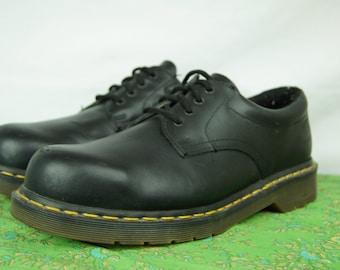 Doc Marten Black Steel Toe Shoes - size 8 UK, 10 US Women, 9 US Men - Four-Hole Dr. Marten Steel Toe Safety C.S.A. certified shoes - D310