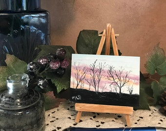 Sun Rise, ACEO, Artist Trading Card, Miniature Original Oil Painting, 2.5'' x 3.5''
