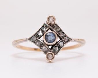 Antique sapphire and rose cut diamond halo ring / 14 k gold and diamond engagement ring / diamond and sapphire engagement ring/Georgian ring
