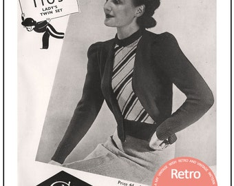 1940s Twin Set Vintage Knitting Pattern - Instant Download