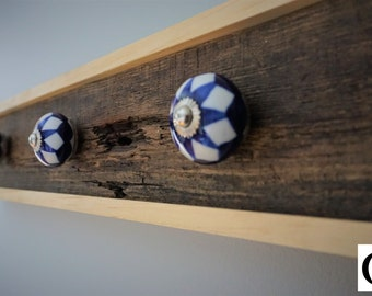 Wall coat hanger, Rustic Wooden Entryway Cherry Wood Coat Rack, Rustic & vintage Home Decor Furniture, Ceramic Hooks