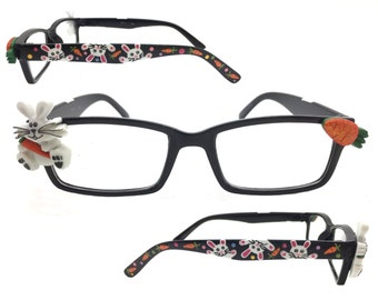 Women's 1.25 Strength Hand Painted Easter Bunny Reading Glasses with Carrots and Polka Dots