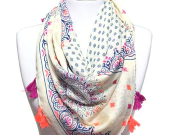 Neon Orange Fuchsia Navy Printed Scarf Lightweight Spring Summer Woman Fashion Accessory Pareo Beach Wrap Cover Up Women Gift Ideas For Her