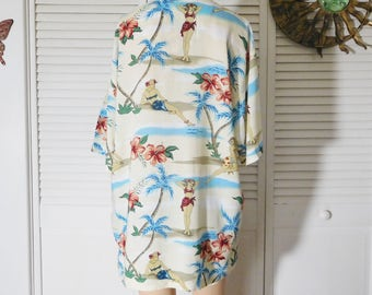 Hawaiian Shirt Ladies in Bathing Suits Women and Flowers Short Sleeve Button Down Collar Rayon