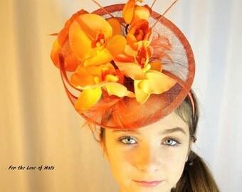 Custom Kentucky Derby Royal Ascot Orange Orchid Fascinator Hat Headband