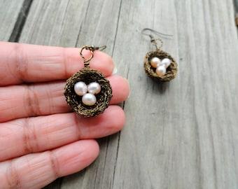 Earrings , birds nest earrings , wire wrapped earrings, freshwater pearl nest earrings, nature jewelry, pink,blush, pearl earrings