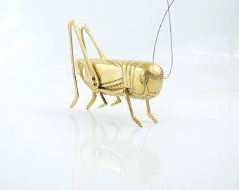 Vintage brass Grasshopper Figurine/Brass Insect/Brass Cricket