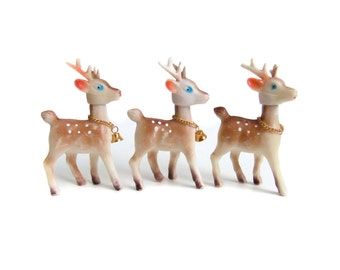 Vintage Reindeer Figurines, Christmas Decor, Gold Bells, Kitsch Hong Kong Deer, Plastic Reindeer Ornaments