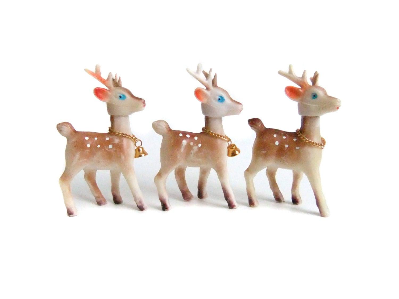 Vintage reindeer figurines christmas decor gold bells for Home decor reindeer christmas figurine set