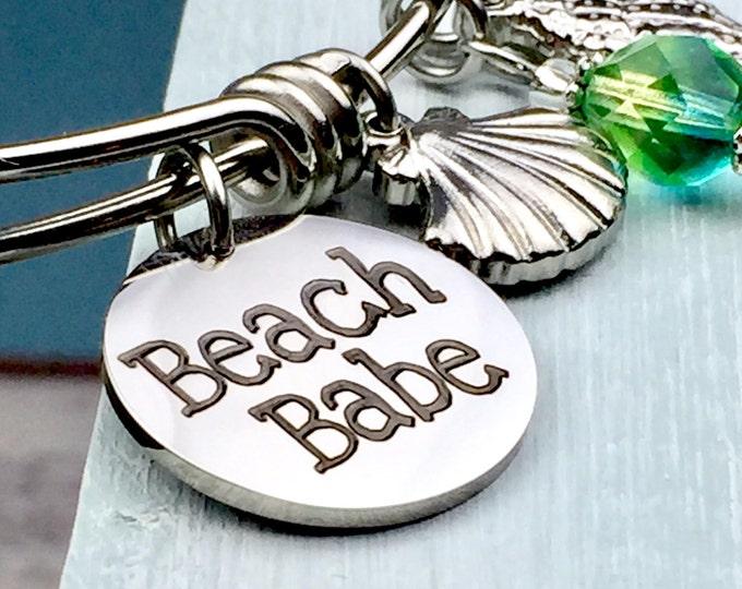 Beach Babe Expandable Bangle Bracelet, Charm bracelet, bracelet with charms, shore, summertime, beach jewelry women