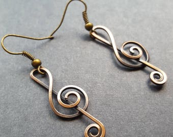 Treble Clef Earrings, Music Note Jewelry, Oxidized Copper Jewelry, Music Nerd Gift,Musical Notes,Treble Clef Note, Treble Clefs Art