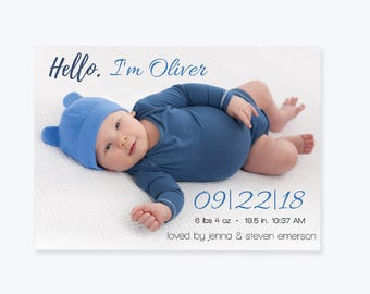 Photo Birth Announcement Invitation PDF Template, Baby Boy Or Girl Printable Simple Birth Announcement, Baby Announcement, DIY You Print