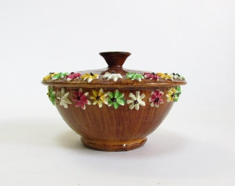 Sweet Flower Rimmed Covered Ceramic Candy Bowl with Wood Grain Glaze - Made in Italy