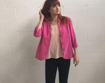 Bright Pink 90s Jacket · Pink Suede Jacket · Hot Pink Blazer Jacket · Pink Collarless Jacket · Gold Buttons Jacket · Collarless Blazer · M