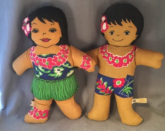 "Vintage 70s C & H Sugar Promotional, Advertising Cloth Dolls, Hawaiian Huggables, 14"", Girl and Boy Pair"
