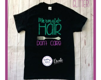 Toddlers or Kid's Mermaid Hair Don't Care • Dinglehopper • Mermaids • Glitter Mermaid Shirt • Little Mermaids • Toddler Mermaid