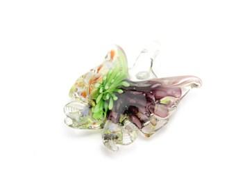 "Handmade Lampwork Butterfly Pendants in Purple and Green 1.75""x1.5"" 1pc"