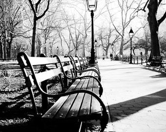 "New York Art, Park Bench, Black and White Photography, NYC Print, New York Park, Romantic Urban Wall Decor, Lamppost Print ""City Park"""