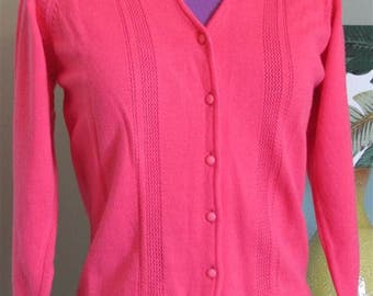 SHERBET PINK KNIT Vintage Rockabilly Sweater / Cardigan