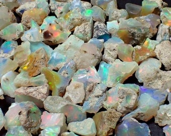 "ONE Opal rough stone from Ethiopia - appx. 1/2"" or 8-15mm / .25-.45gm - chosen at random - rough stones flash structureminearls"