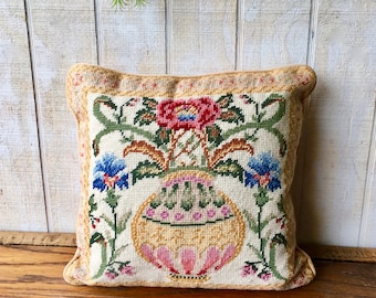 Vintage Handmade Needle Point Pillow