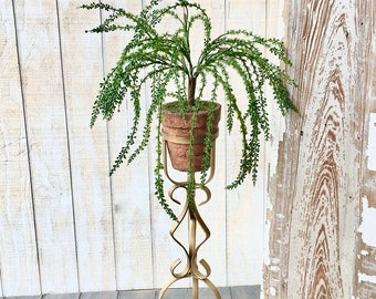 Midcentury Gold Metal, Plant Stand, Vintage Rod Iron Pot Holder, Plant Stand