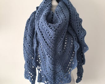 Handmade Crochet shawl blue