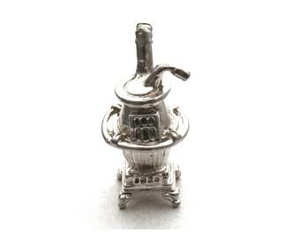 Pot Belly Stove Bracelet Charm Vintage Beau Sterling Silver Dollhouse Miniature