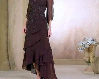 Brown Evening Dress, Mother of Bride Dress, Beaded Evening Dress, Robe  Mere de Mariee, Hi Lo Evening Dress, Chiffon Dress -Size 6 (US)