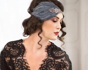 Great Gatsby headband, gatsby style dress, Downton Abbey serre tete 1920s headpiece, black feather headband, roaring 20s headpiece,