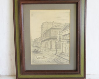 "Vintage Bourbon Street ""Archie Boyd"" signed print Matted and Framed 12 1/2"" x 10 1/2"""