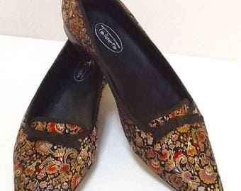 Vintage Satin Brocade Ballet Flat / Evening Shoes / SZ 8.5 / Talbots / Preppy / High Fashion / Black Flats