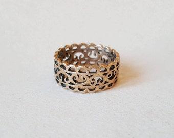Romantic vintage lace bronze ring (F824)