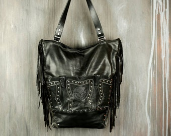 Leather Fringe Bag / Eco Bag / Boho Bag / Western Bag / Upcycled Leather Bag / Jacket To  Bag / Festival Bag / Boho Bag / Woman Bag