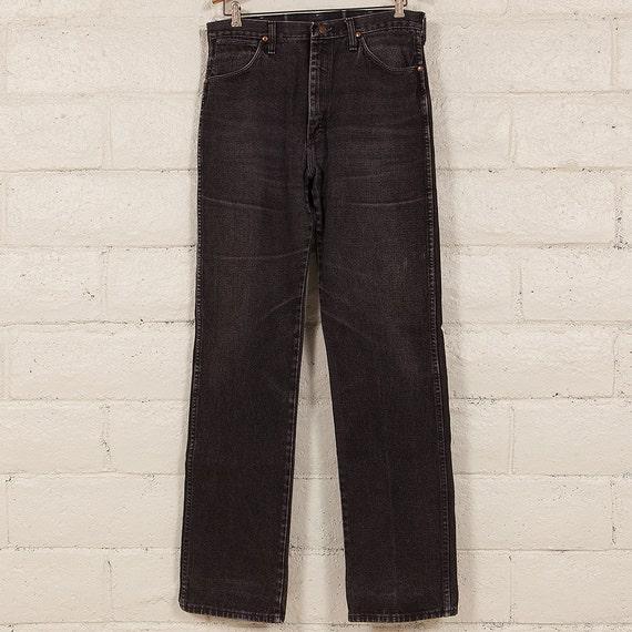 vintage wrangler black denim jeans size 33x36 made in usa. Black Bedroom Furniture Sets. Home Design Ideas