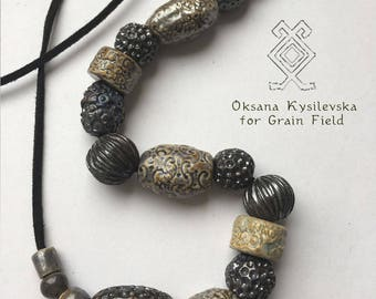 Black pearls ceramic necklace inspired by Eurovision 2017 - Celebrate diversity