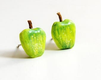 Apple earrings miniature food